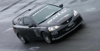 Solo RSX during a wet track event.